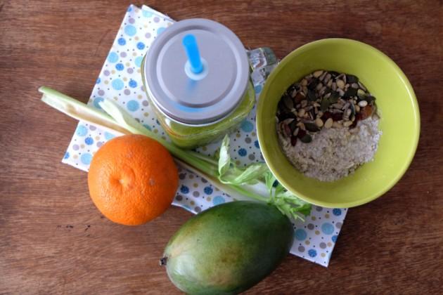 Petit Déjeuner Végétalien et Sans Gluten - Smoothie vert et porridge